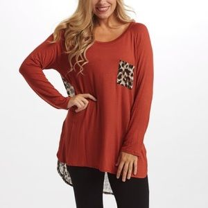 Pinkblush Red and Leopard Print Tee 1X-2X